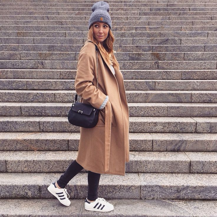 Camel coat and Adidas Superstar Vintage Deluxe