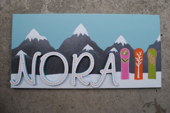 Custom Snowboard Sign for Baby or Kid Made to Order on Etsy, $100.00