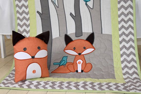 Woodland blanket, Birch tree crib quilt, Personalized fox crib bedding, Personalized baby blanket, gray chevron and lime I always liked the