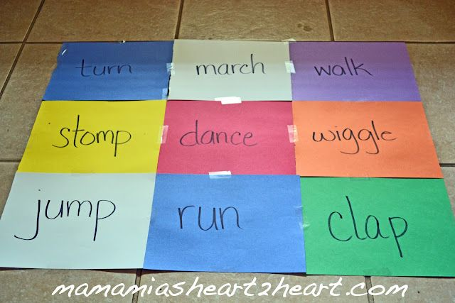 """Fun with ACTION Words"", could also do ""action hopscotch"" and use a beachball and do whatever action your hand lands on!!! R.ES.2.4 & R.ES.5.2"