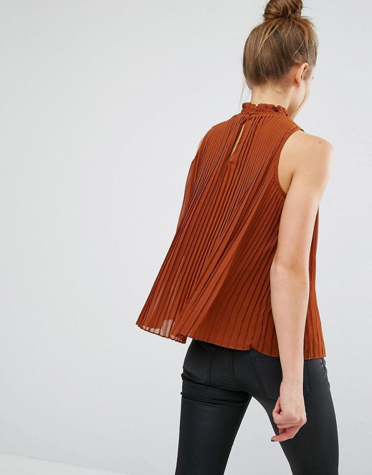 Cute pleated terracotta high neck top