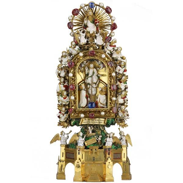 Holy Thorn Reliquary of Jean, duc de Berry -  Paris, France, before AD 1397 / short video about it here from the British Museum: http://www.britishmuseum.org/video/objects/holy_thorn_reliquary.aspx