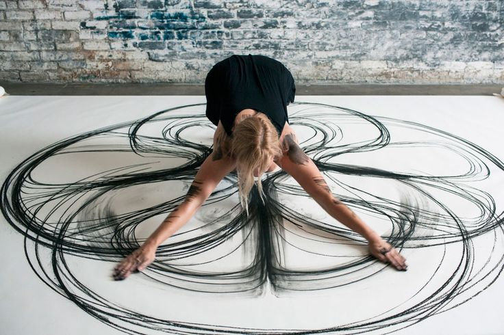 Artist Heather Hansen uses her entire body to create these charcoal drawings. Drawing, Kinetic and Performance Art combine.