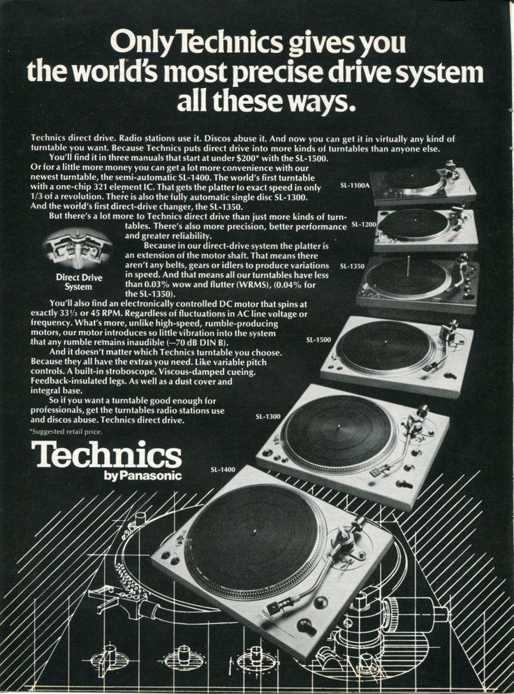 1976 PANASONIC TECHNICS Direct Drive DJ Turntables Retro Vintage Original Ad