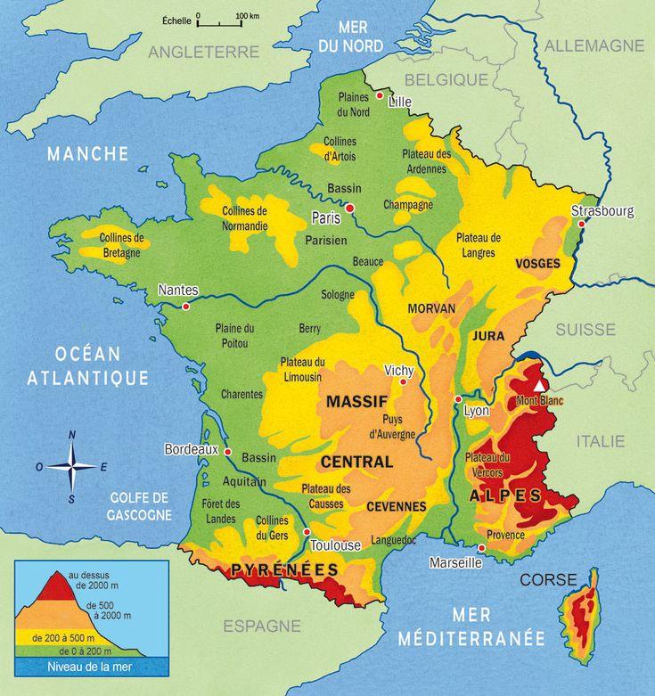 France-carte-deFrance-montagnes-et-plaines-reliefs-niveau-de-la-mer-Pyrénées-Alpes-Massif-Central-Morvan-Jura-Vosges-montagne-Corse-Cévennes-France-Europe