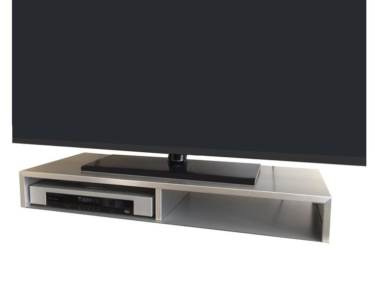 amazoncom tabletop tv stand for flat screen brushed aluminum electronics