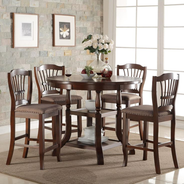 Bixby Round Counter Height Dinette With Shelves And 4 Chairs 69900 Table 4725Dia Dining TableShelves
