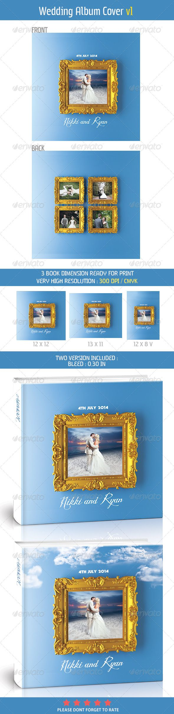 Wedding Photo Album Cover 01 — Photoshop PSD #photobook #Album Book • Available here → https://graphicriver.net/item/wedding-photo-album-cover-01/7441112?ref=pxcr