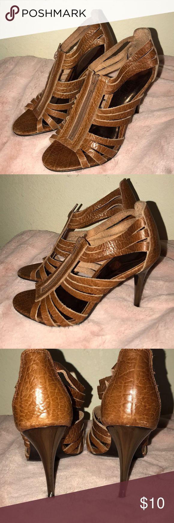 Brown strappy heels Flaws are in the photos. Cathy Jean Shoes Heels