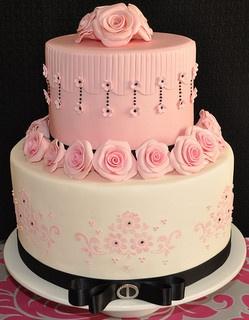 Pink, White, Black Wedding Cake b Melania's Exquisite Cakes