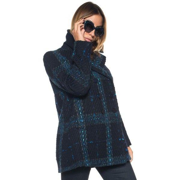 Blue Les Copains Woolen coat (805 CAD) ❤ liked on Polyvore featuring outerwear, coats, tartan wool coat, plaid wool coat, double breasted coat, woolen coat and blue coat