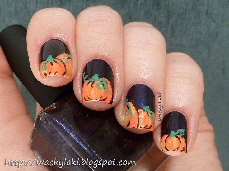 30 best nails images on pinterest halloween nail designs halloween acrylic nails laki pumpkins acrylic one stroke prinsesfo Image collections