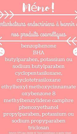 Liste des perturbateurs endocriniens à bannir des nos produits cosmétiques