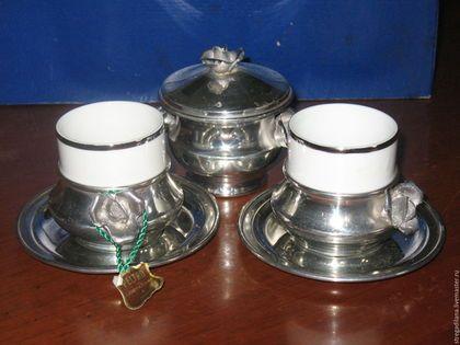 Винтажная посуда. винтажный оловянный кофейный сервиз на две персоны. CENERENTOLA. милые безделушки. Ярмарка Мастеров. Набор