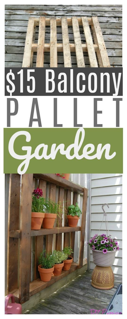 Take advantage of vertical space on small patios and balconies with this $15 Balcony Pallet Garden!