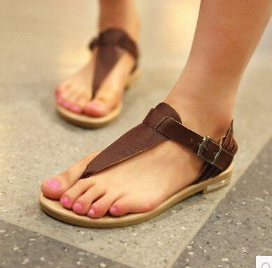Women new fashion summer British style casual genuine leather flat heels  sandals flats flip-flop