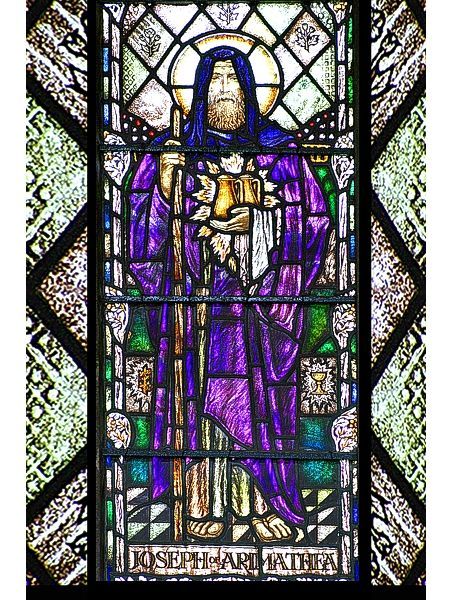 St. Joseph of Arimathea window at St. John's, Glastonbury (the current parish banner of St. Joseph's is based on this window)