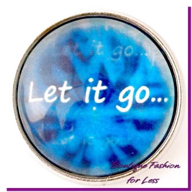 Snaps Snap Chunk Charm Glass Let it Go Message Blue Interchangeable #PrivateLabel #StyleSnapsChunkSnapPopDesignerInspi