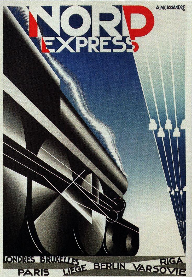 """Nord Express"" A.M. Cassandre - 1927 http://blogs.elpais.com/ilustrados/2013/12/cassandre-creador-del-cartel-moderno.html"
