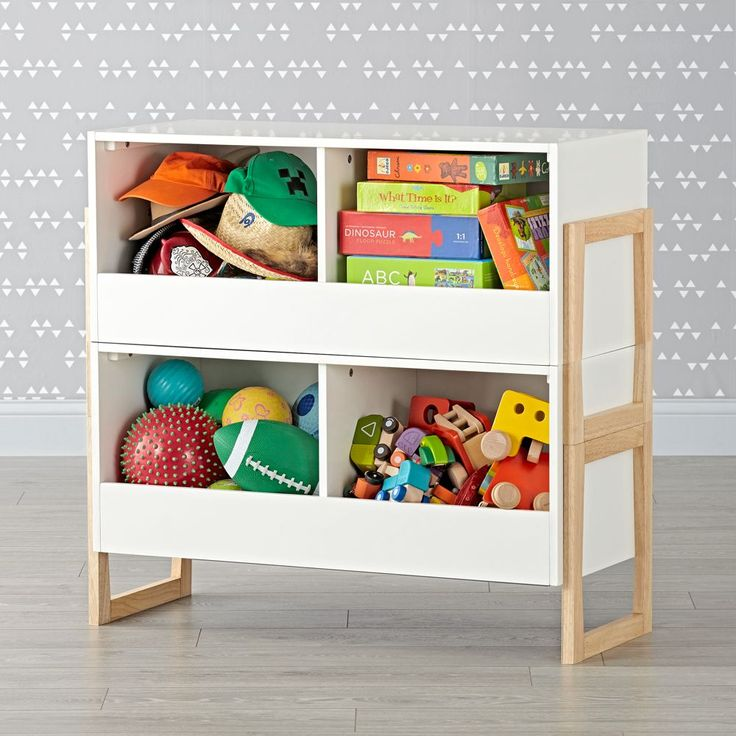Level Up 2-Bin Stackable White Toy Box