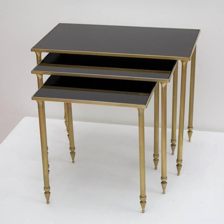 Set of Side Tables with Black Glass Tops 9