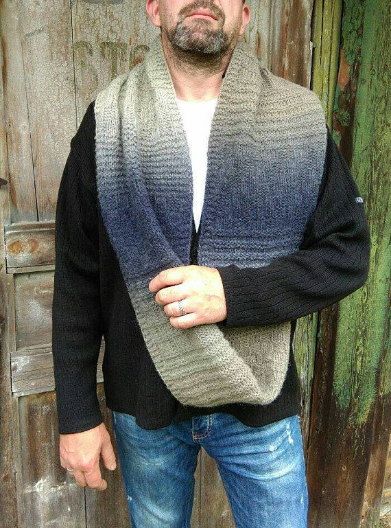 Ombre Men's Knit Scarf Grey Infinity Scarf Chunky Circle