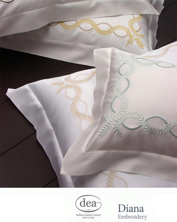 Crown yourself in laurel leaves like a Greek goddess with our Diana embroidered pillowcases | Dea Italian Linens