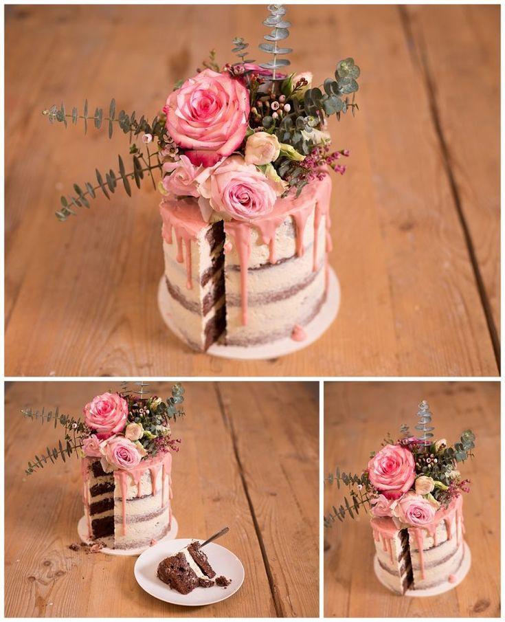 Den Kuchen selber backen: Nackter Kuchen mit Eukalyptus und Blüten   Hochzeitsbl …   – Sweet