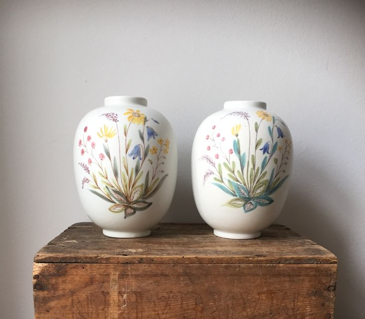 Pair of vases/Swedish/ art pottery/Lars Thorén /Rorstrand/vintage vase/1950s/flowers/Scandinavian by WifinpoofVintage on Etsy
