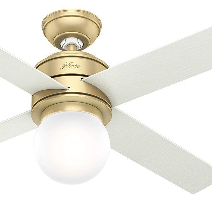 Hunter Fan 52 In Modern Brass Ceiling Fan With Led Globe Light Kit Wall Control Included Certified Ref Ceiling Fan Light Kit Ceiling Fan Modern Ceiling Fan