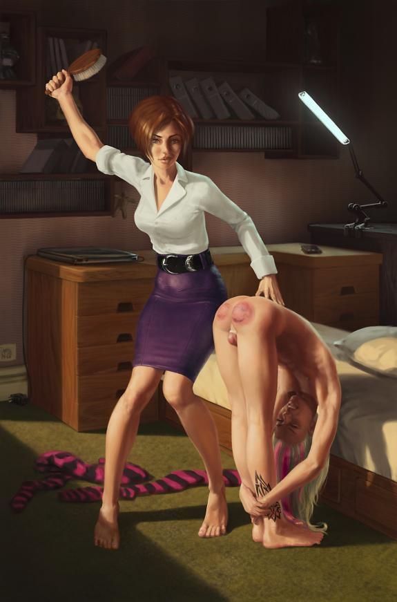 Spank On Mother Teaching Daughter