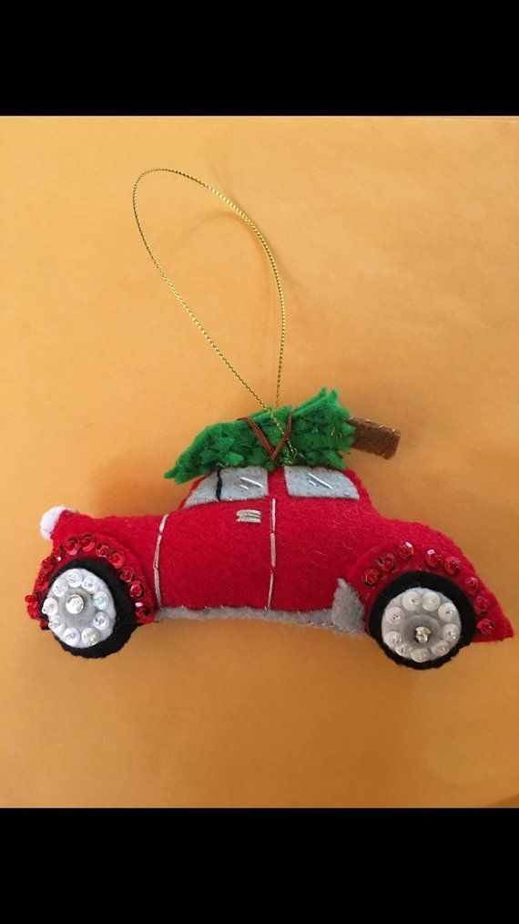 Cute Little Red Car With Tree On Top Felt Christmas Ornament Felt Christmas Ornaments Felt Christmas