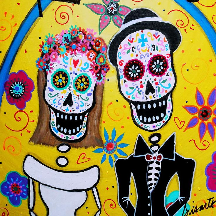 Pristine Cartera Turkus painting available as a print - Wedding Day Of The Dead Painting  - Wedding Day Of The Dead Fine Art Print