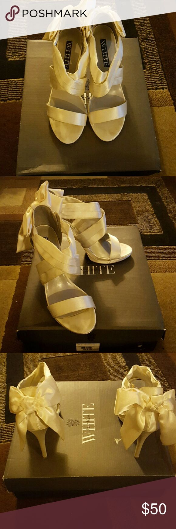 Vera Wang wedding shoes!!! Vera Wang bridal shoes only worn once. No scuffs, no stains. 100% Authentic. Vera Wang Shoes Heels