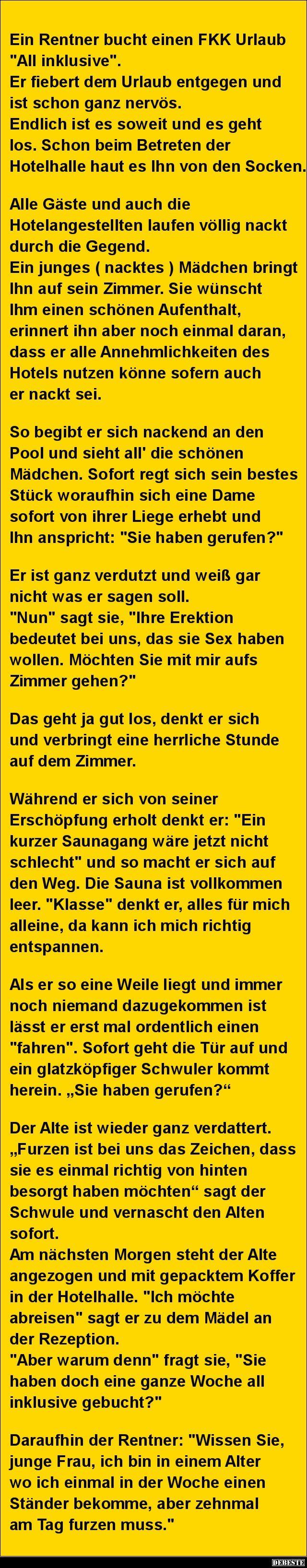 Ein Rentner bucht einen FKK Urlaub 'All inklusive'.. | DEBESTE.de, Lustige Bilder, Sprüche, Witze und Videos