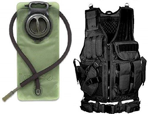 Ultimate Arms Gear Lefty Black Tactical MilitaryHunting Vest Left Handed Quick Draw Pistol Holster  Mag Pouch Belt  25 Liter Hydration Water Bladder Hosing Hands Free Bite Valve ** Continue to the product at the image link.