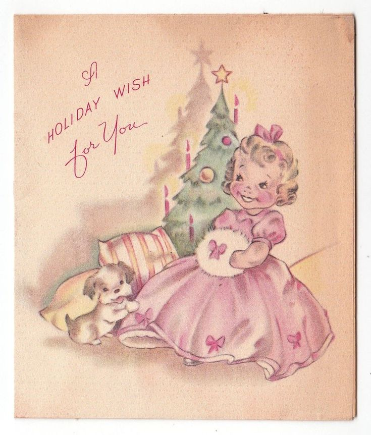 Vintage Greeting Card Christmas Little Girl Fur Muff Grinnell 1940s AS-IS L09