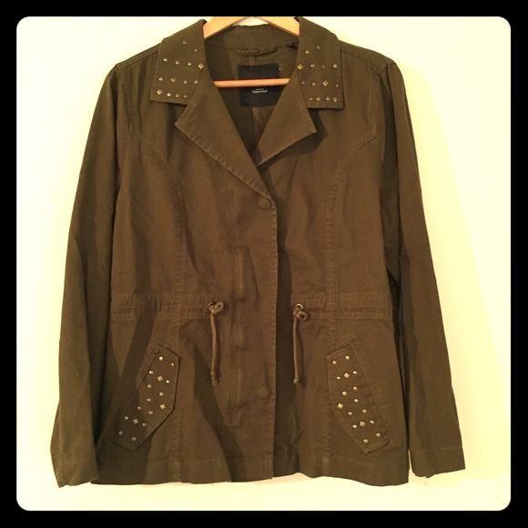 Relativity Combat Jacket Only worn once. Had the sleeves shortens a little bit. If you want measurements just ask. No flaws. Has a zipper and snap buttons. Beautiful studs. Perfect for fall and mild winter weather. Relativity Jackets & Coats Utility Jackets