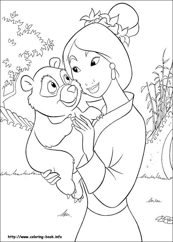 Mulan With A Little Bear Coloring Page This Beautiful From Pages Is Perfect For Kids Who Will