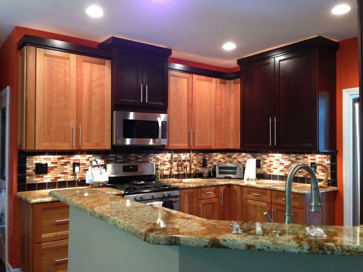 Mix Of Light And Dark Cherry Cabinets
