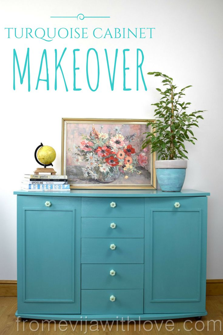Turquoise Cabinet Makeover - From Evija with Love. Using Everlong Kingfisher chalk paint and D Lawless Hardware. Colourful DIY cabinet makeover in turquoise, hand painted with added beading