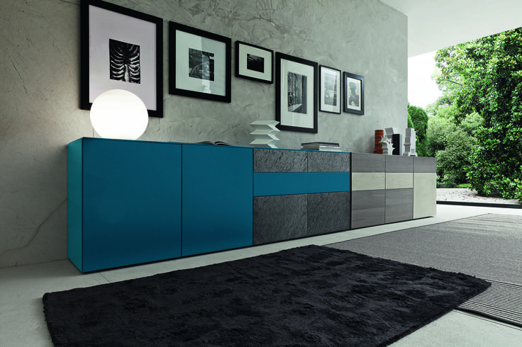 Furniture Cool Luxury Inclinart Blue Lacquered Modern Sideboard With Doors Design By Pierangelo Sciuto As Well As Italian Designer Sideboard Credenza Gorgeous Blue Sideboard Designs Embracing Function in Style