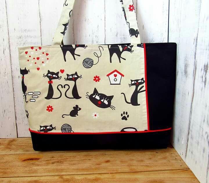 fekete piros és cica nagy táska