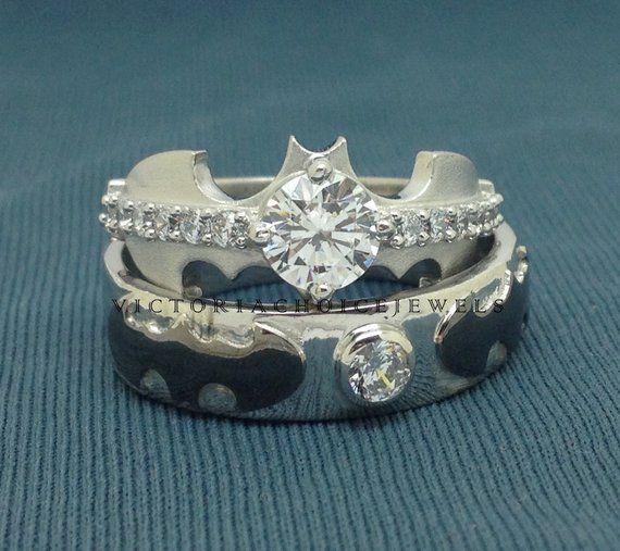 His Her 2 Ct White Round Cz Diamond Batman Engagement Wedding Ring Set In 925 Sterling Silv Batman Wedding Rings Vintage Flower Engagement Rings Batman Wedding