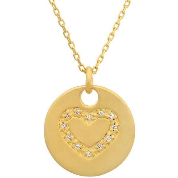 Sterling Essentials Gold over Silver Cubic Zirconia Pendant Necklace ($22) ❤ liked on Polyvore featuring jewelry, necklaces, yellow, circle pendant necklace, yellow pendant necklace, round pendant necklace, gold circle pendant necklace and gold necklace