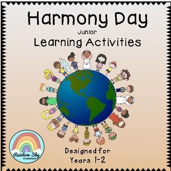 Junior Harmony Day Pack for Year 1 and 2. The resources in this pack is about celebrating cultural diversity, tolerance and inclusiveness of all Australians. ~ Rainbow Sky Creations ~