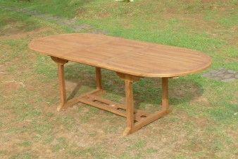 TABLE DE JARDIN 10 PERS 180/240 EN TECK OVALE GRASS