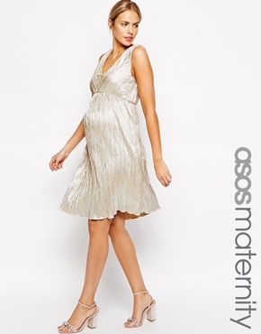 ASOS Maternity Pleated Midi Dress with V Neck in Metallic. ASOS makes super cute affordable Maternity dresses --- just something to keep in mind for your MOH duties at my wedding in the far far future @shamarie17 ;-)