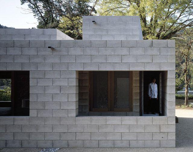 Takao Shiotsuka Atelier, Silent house. Concrete blockwork, blockwork openings, recessed enclosure/ verandah circulation, monolithic.