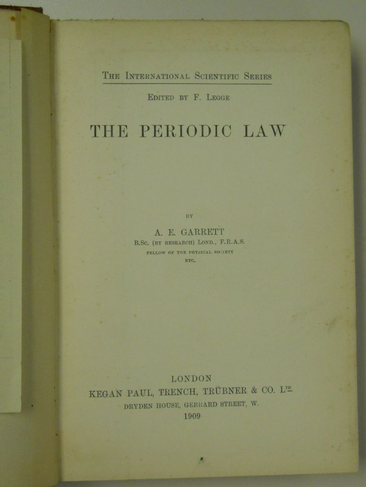 the periodic law 1909 by ae garrett periodictable periodiclaw - Periodic Table Law